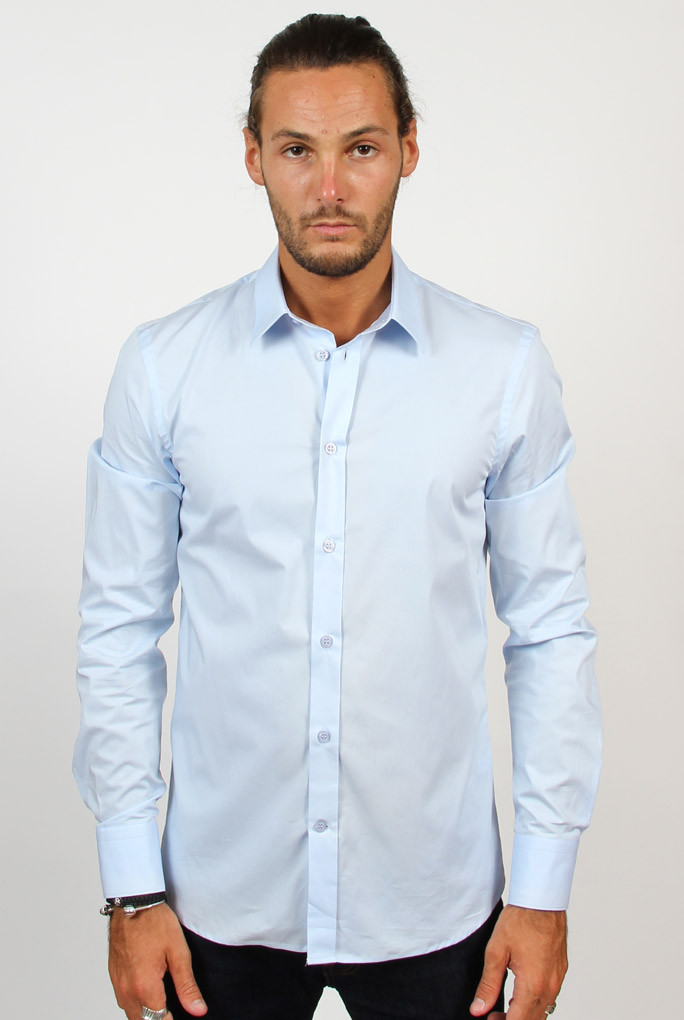 CHEMISE STRETCH FILIPPA K M. PAUL BLEU CIEL 2-11-14622 LGT BLUE