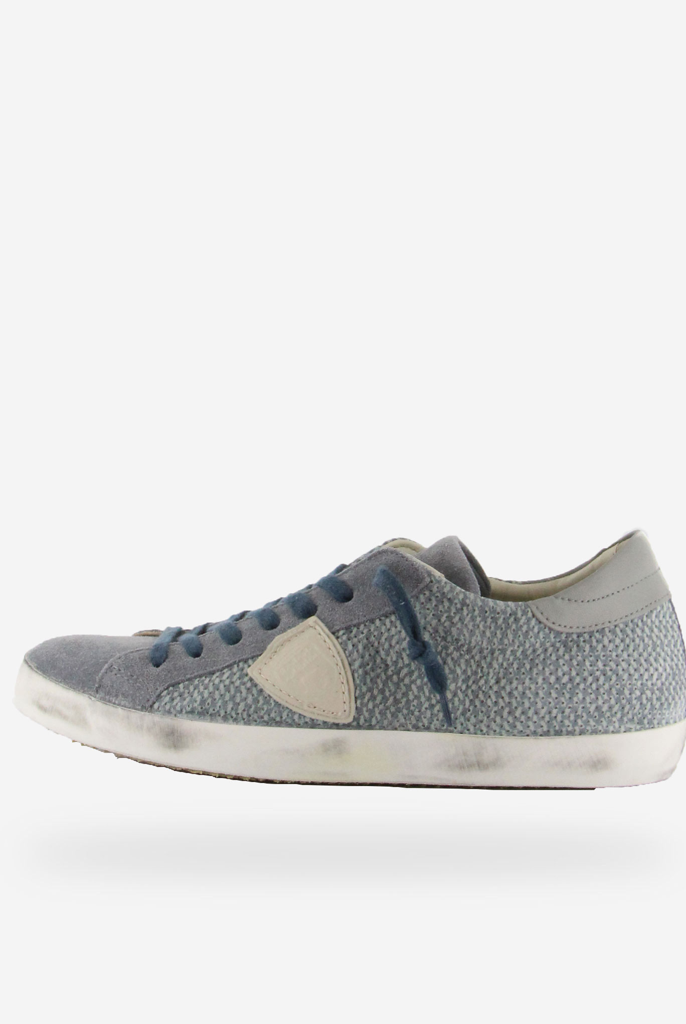 BASKETS PHILIPPE MODEL CLASSIC LOW UOMO PERFORE CIEL BUTTER CLLU-PS27