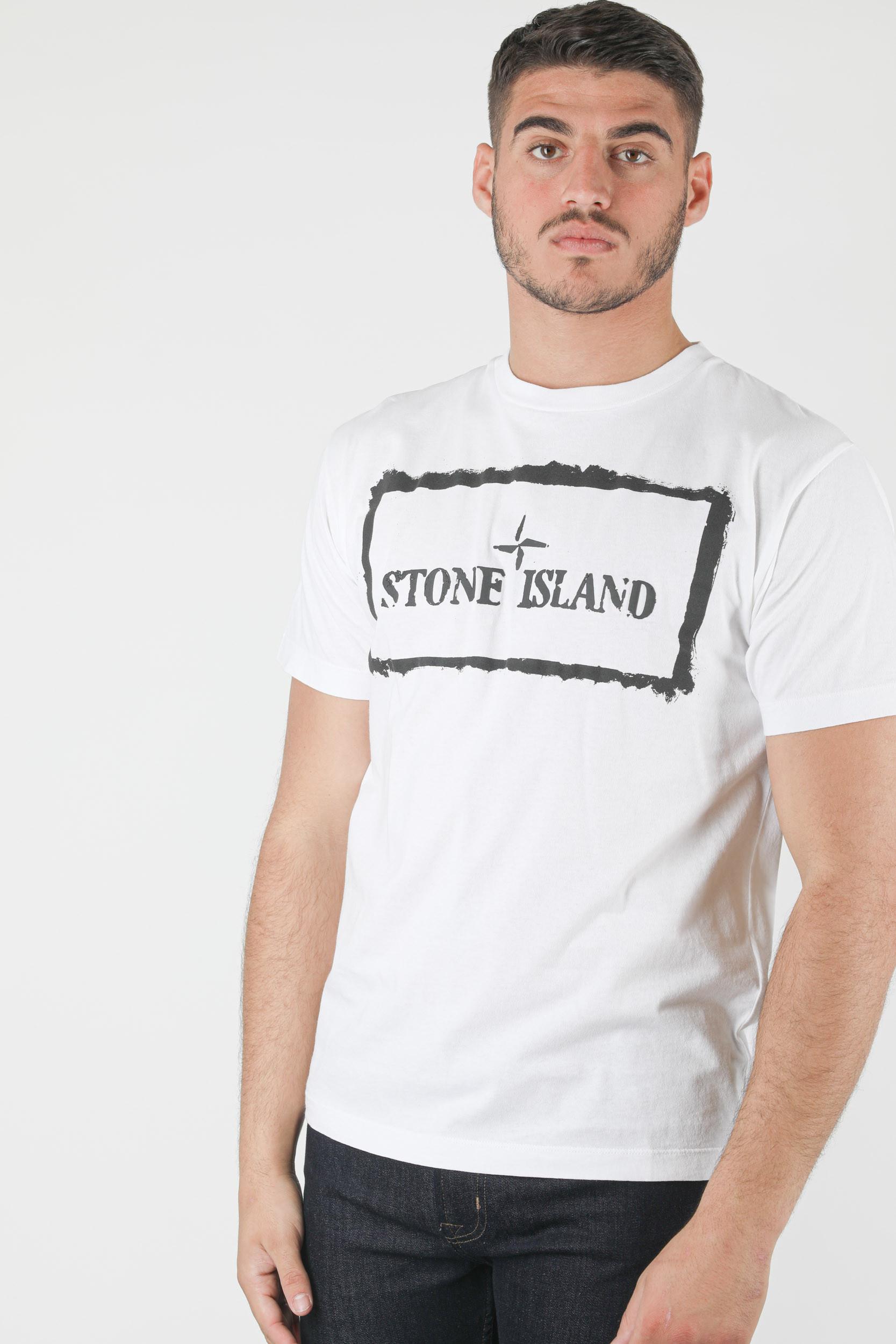 T-SHIRT STONE ISLAND BLANC EFFET PEINTURE NOIR 74152NS80-V0001